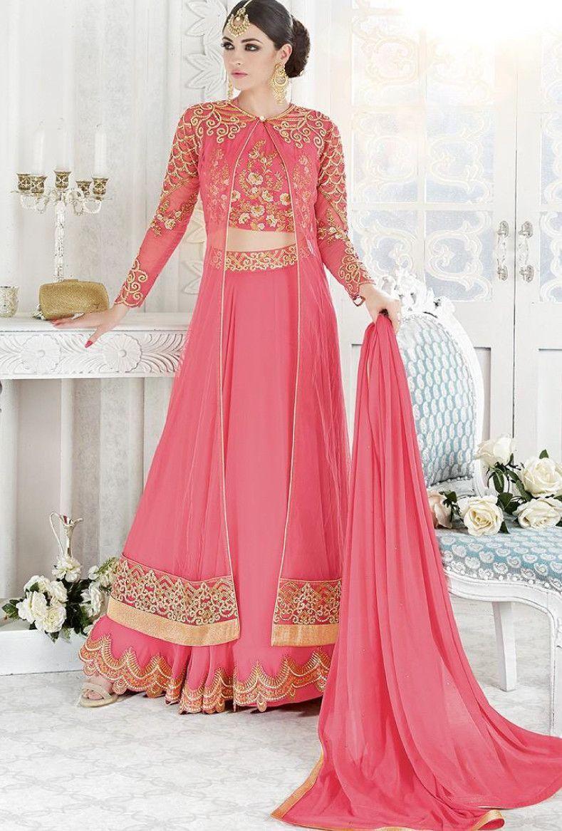 Pink Georgette and Net Jacket Style Lehenga | Dress : Salwar Kamiz ...