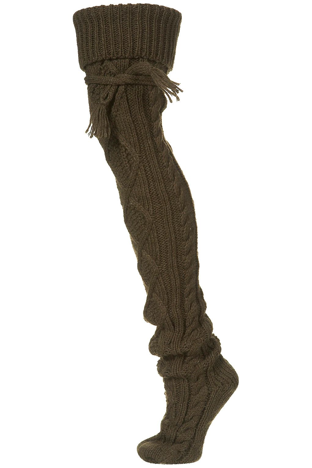 6433f7c8f02 Cable knit thigh high socks in olive green