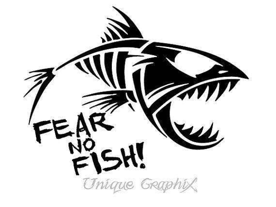 Fear no fish fishing decal boat window sticker fish for Fishing stickers for boats