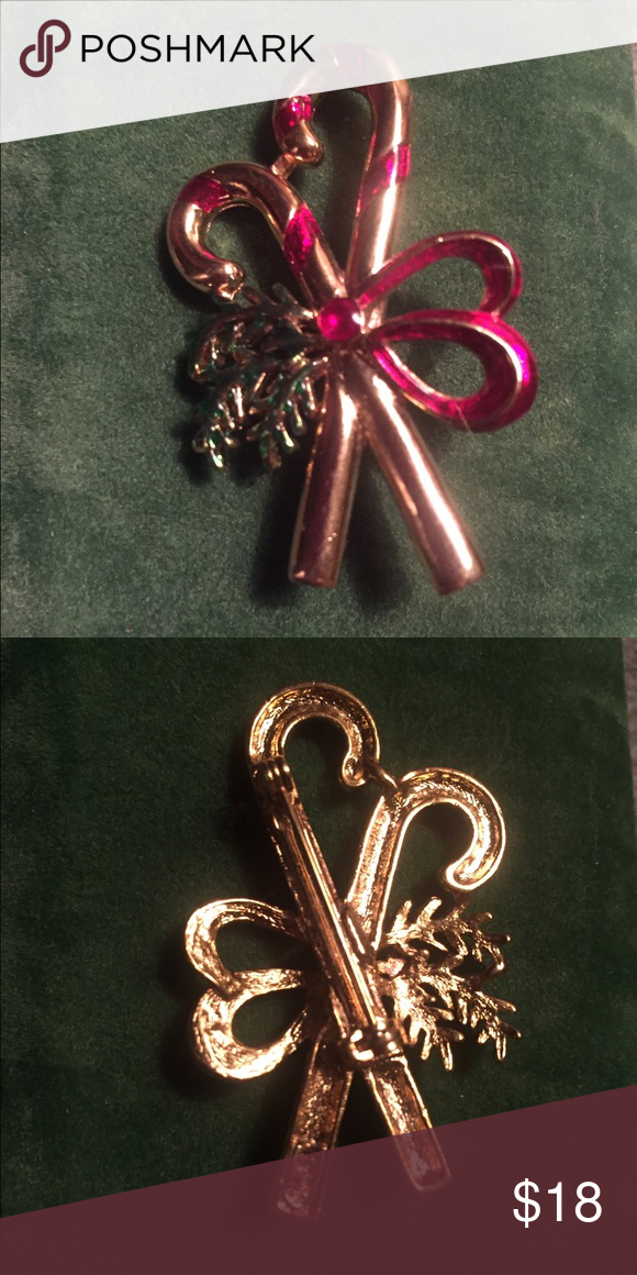 """Vintage Christmas Candy Canes Brooch Pin Great throw-back Brooch! Measures 2"""" x 1-1/4"""". Vintage Jewelry Brooches"""