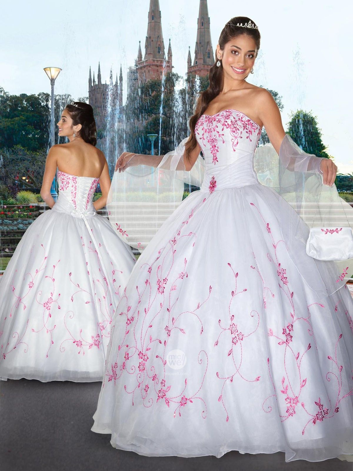 Different color wedding dresses  different color flowersI think  Beautiful dresses  Pinterest