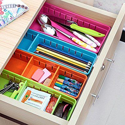 Amazon.com : Focussexy Adjustable Plastic Drawer Organizer Flatware Organizer : Office Products