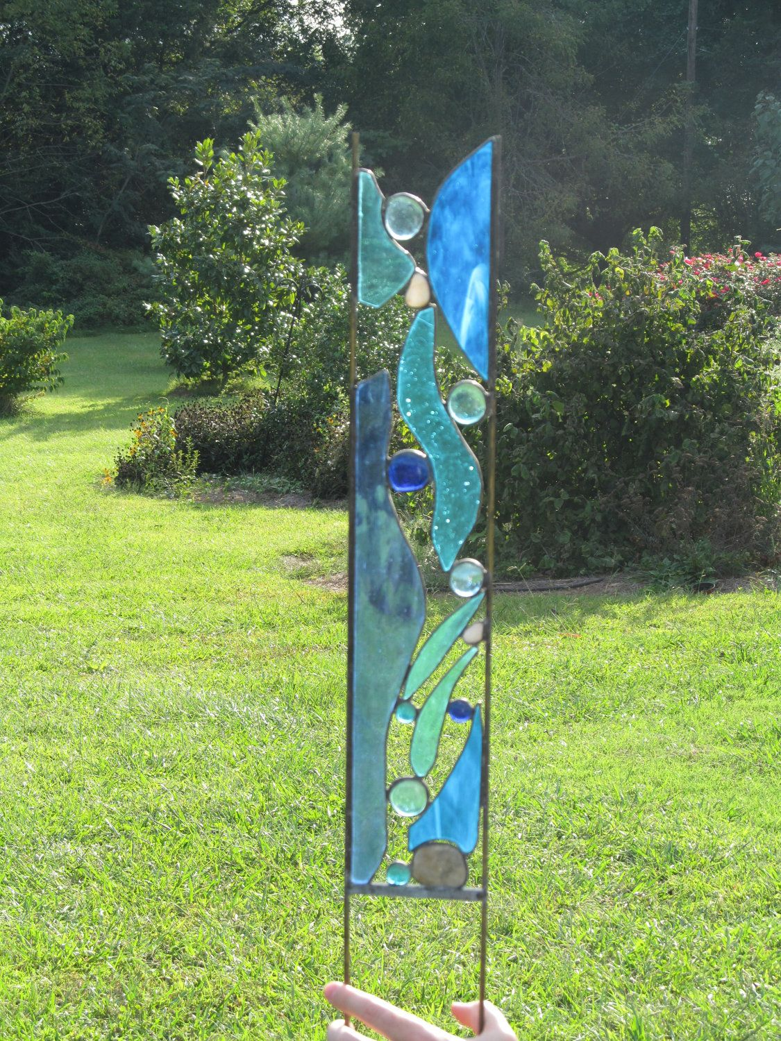 Fused glass yard art - Stained Glass Garden Stake Mountain Stream Yard Art Garden Panel Blue Glass River Rocks