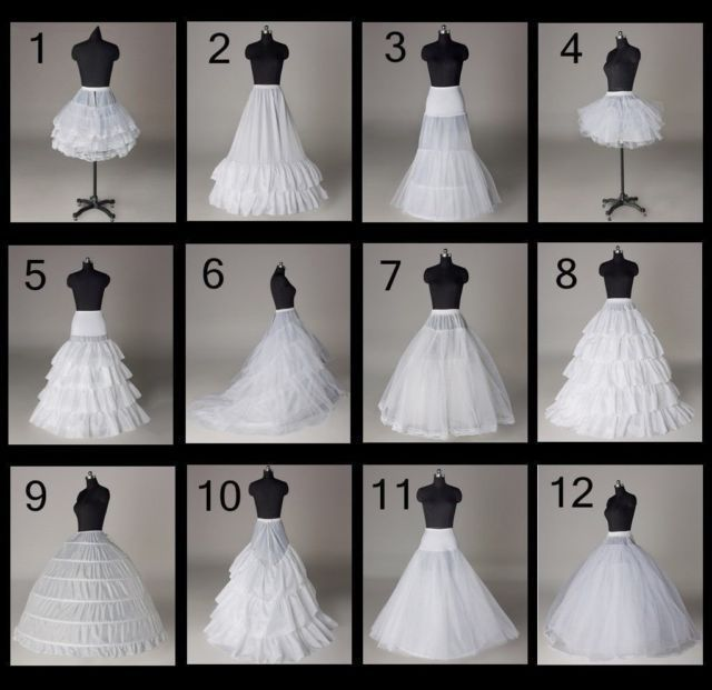 12 Styles Wedding Bridal Slips A Line Train Petticoat Hoop Short Skirt Crinoline