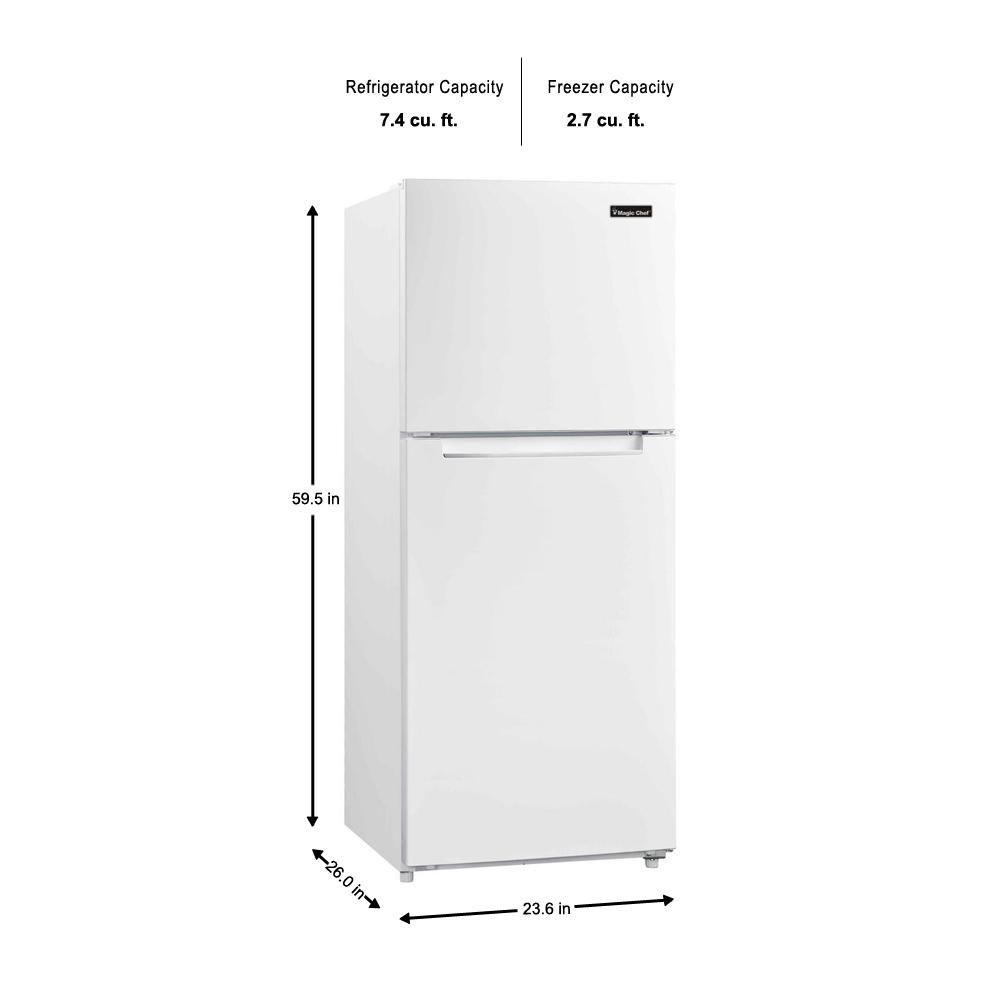 Magic Chef 10 1 Cu Ft Top Freezer Refrigerator In White Hmdr1000we The Home Depot Top Freezer Refrigerator Refrigerator Small Refrigerator