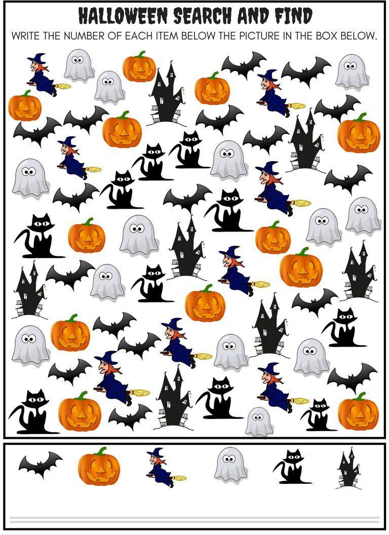 Halloween Searches Seek And Find Math Activity Halloween Lesson Halloween Printables Kids Halloween Theme Preschool [ 1056 x 768 Pixel ]