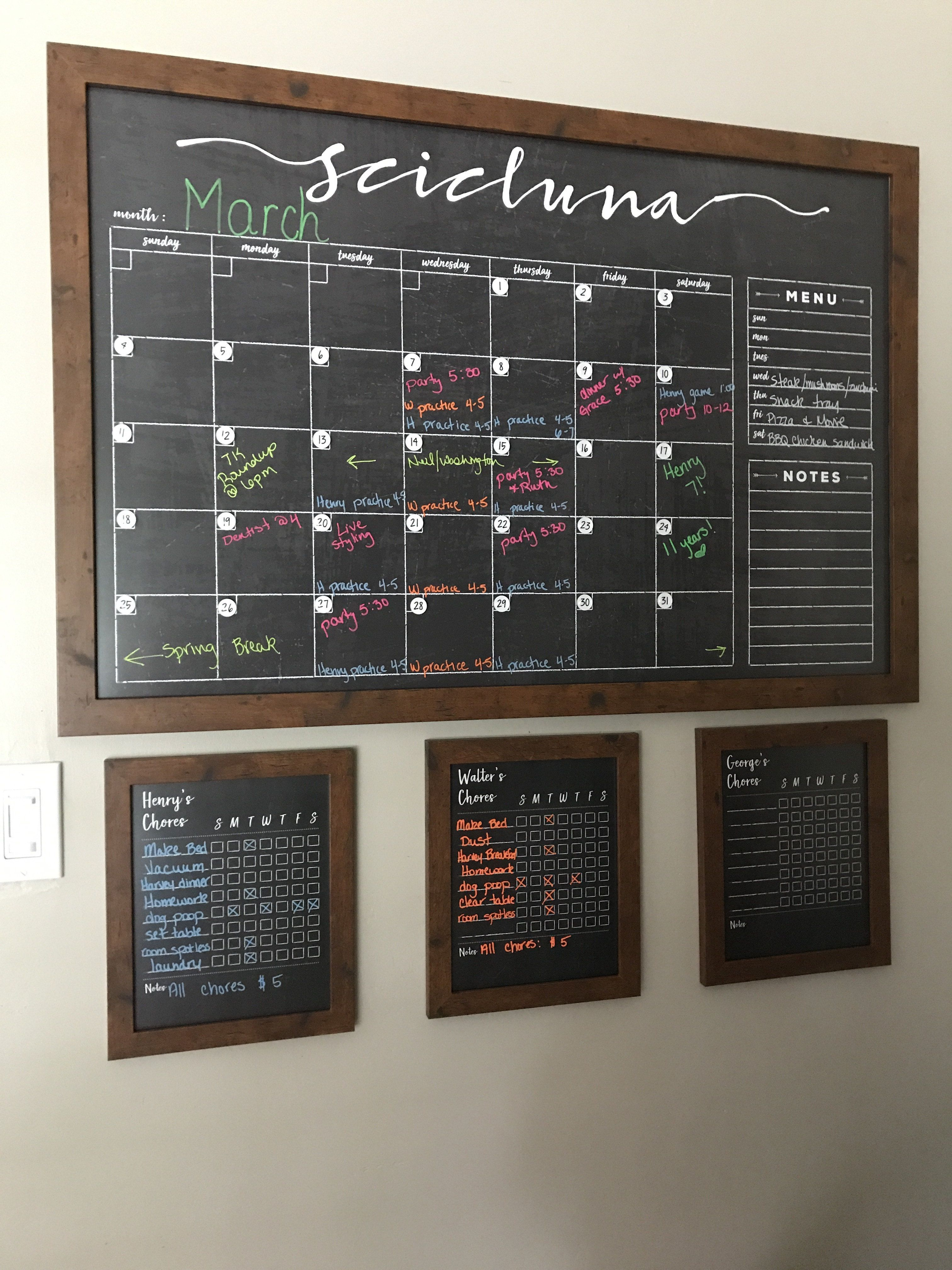This Large Size Beautiful Chalkboard Calendar Is Professionally