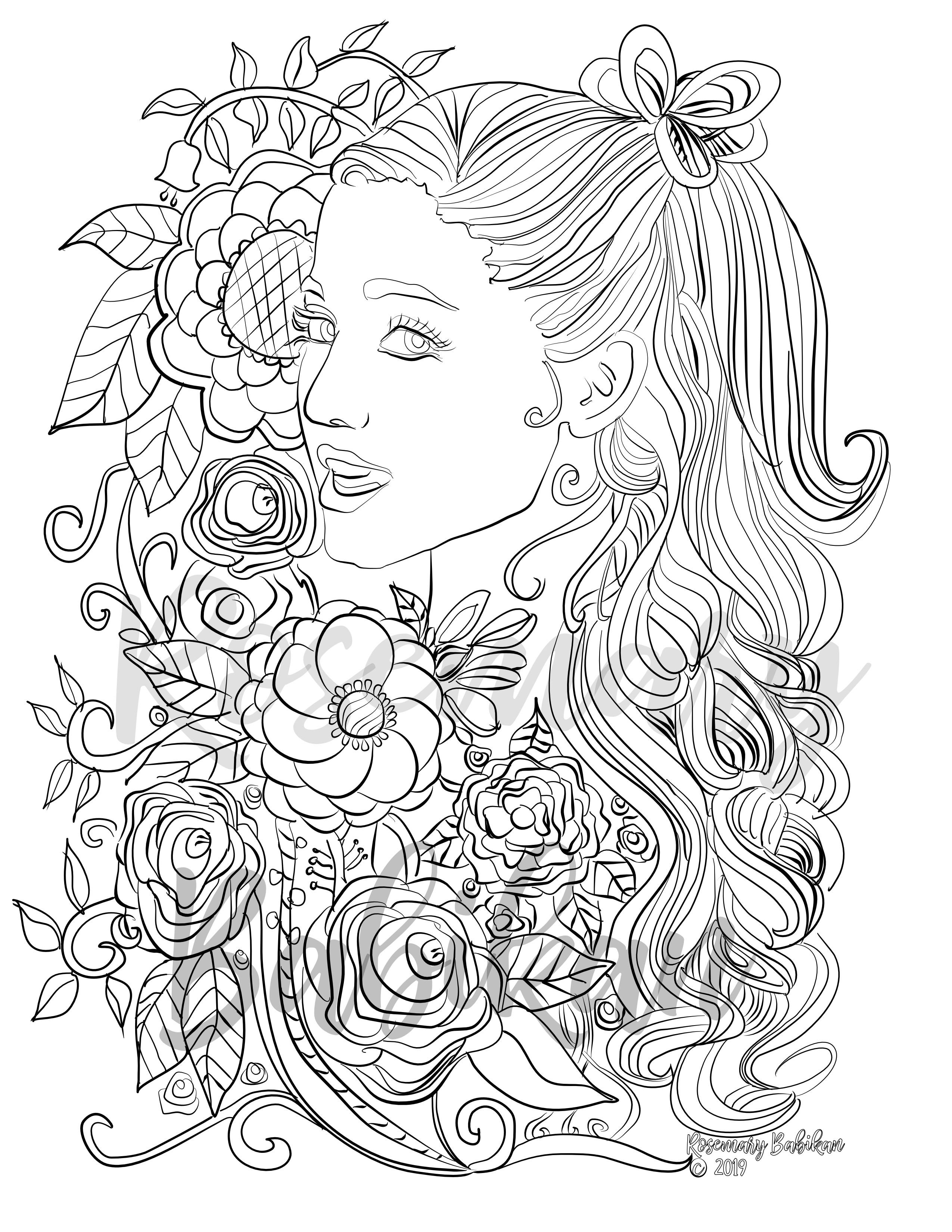 Instant Digital Download Adult Coloring Page Inspired By Ariana