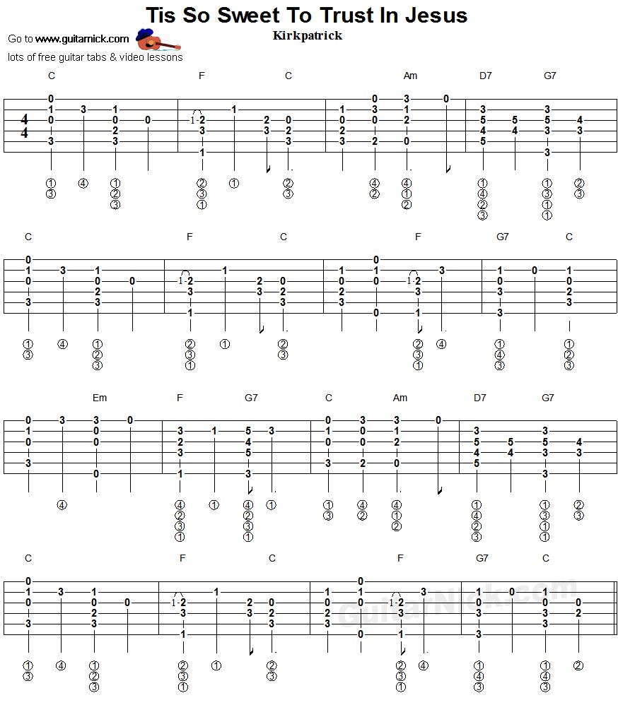 Tis So Sweet To Trust In Jesus Fingerstyle Guitar Tablature 1