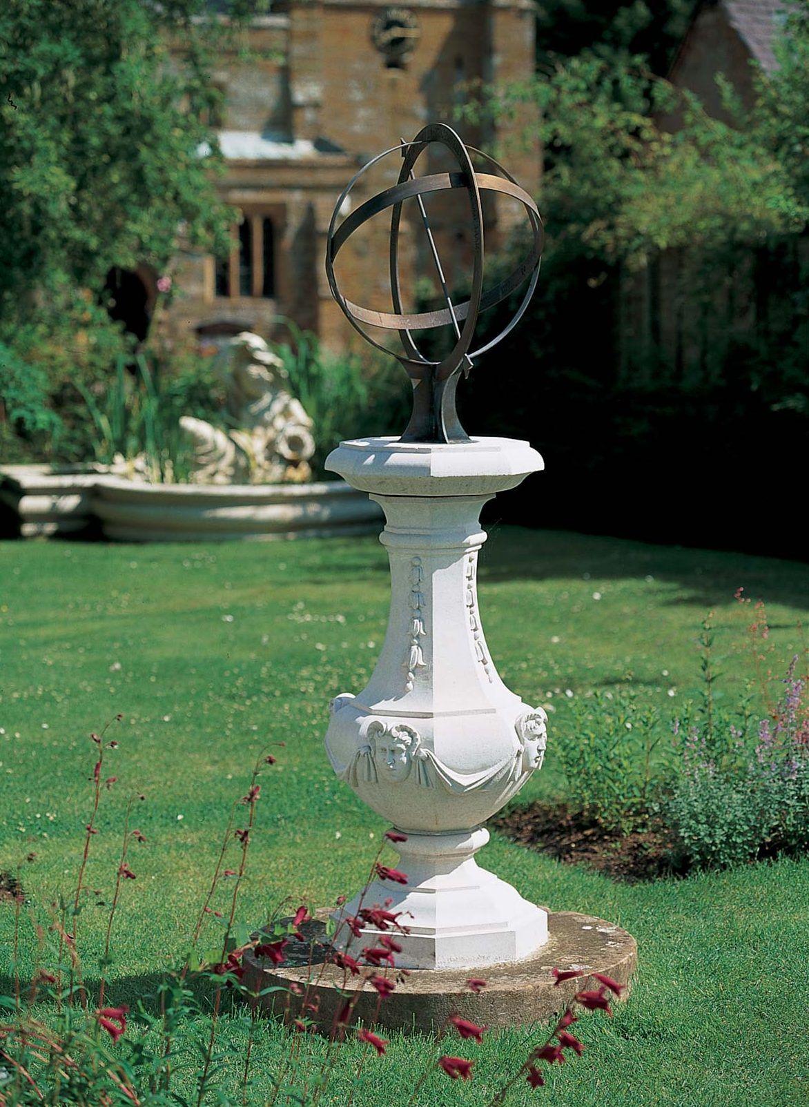 Unusual  Deco sundial plinth      garden  stone ornament