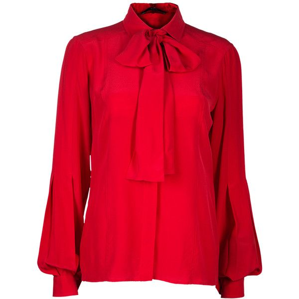 91235cb932d1 Gucci Red Button Down Blouse M ❤ liked on Polyvore featuring tops, blouses,  silk button up blouse, collar top, red button up blouse, gucci and long  blouse