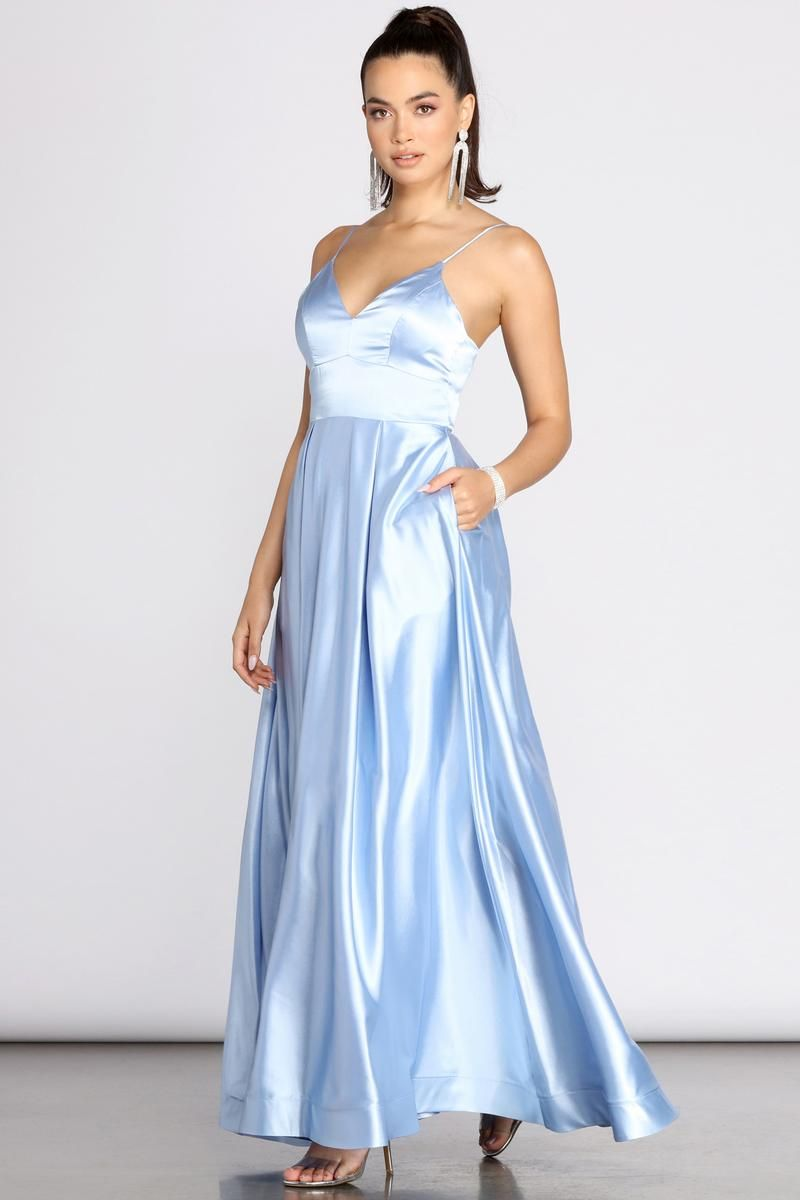 Idina Satin Lace Up Ball Gown In 2021 Baby Blue Prom Dresses Long Baby Blue Dress Ball Gowns [ 1200 x 800 Pixel ]