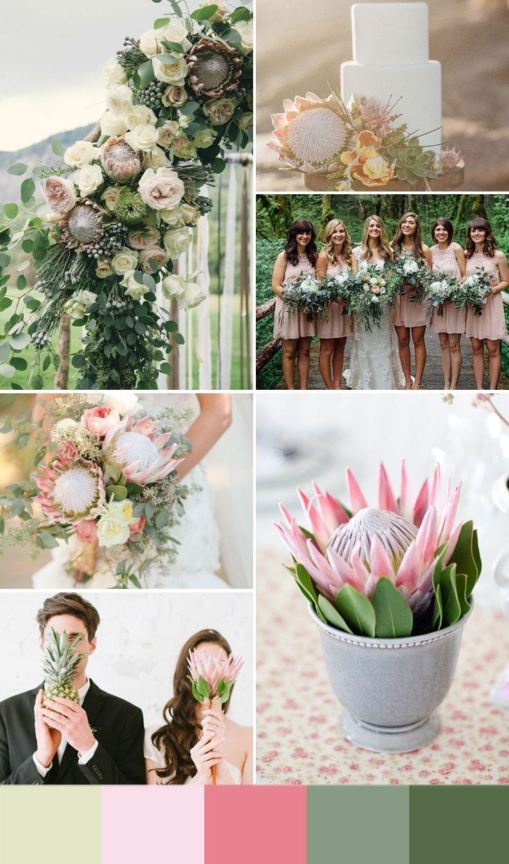 5 Summer Wedding Color Ideas Inspired By This Season S Hottest Flowers Wedpics Blog Summer Wedding Colors Protea Wedding Wedding Colors