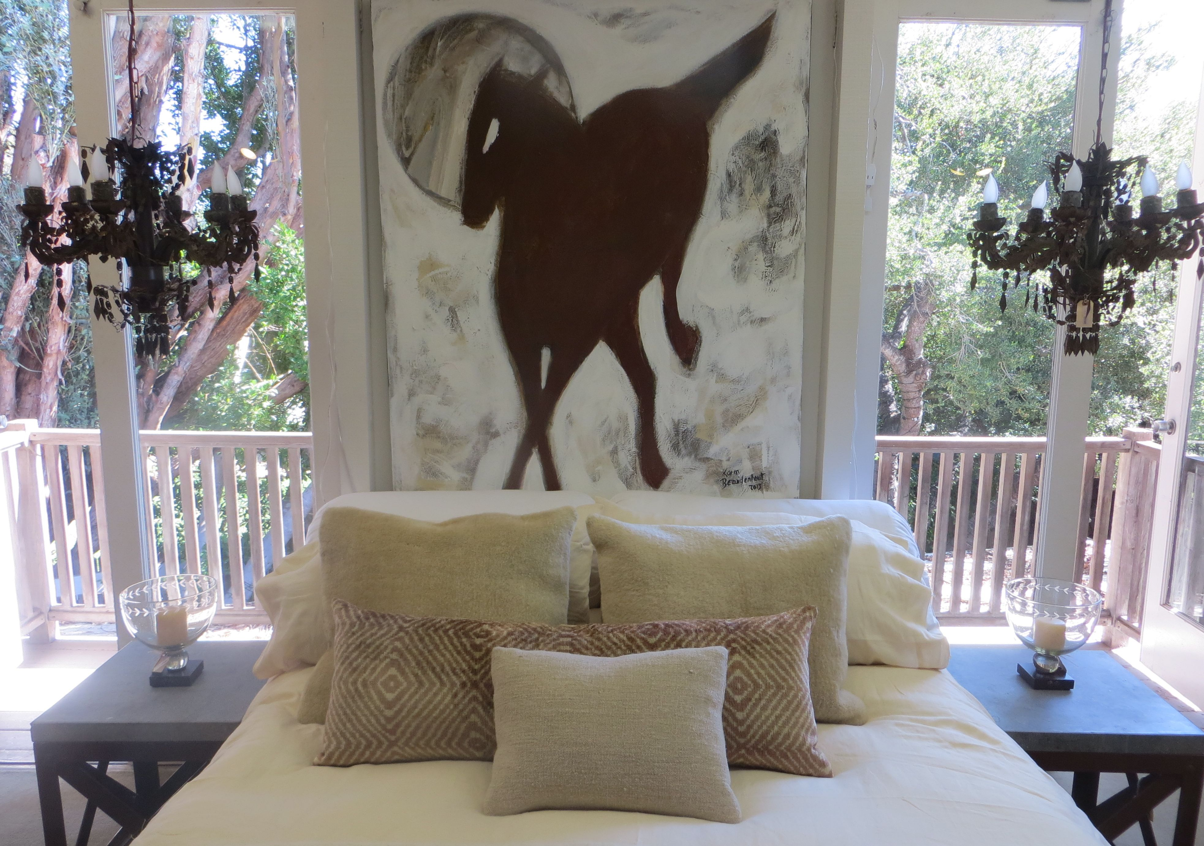 """""""Running Horse"""" 48x60 above the bed at Pierre Lafond"""