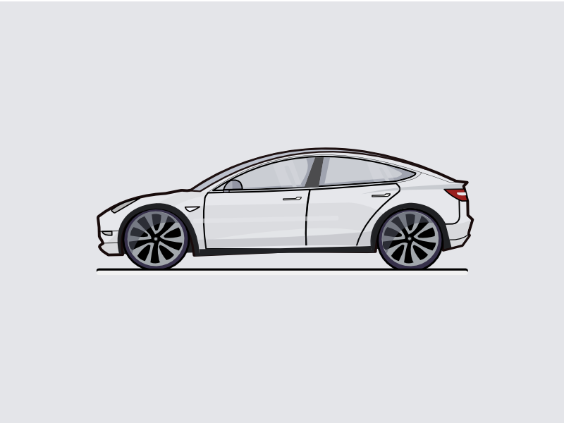 Tesla Model 3 III B/&W drawing vector vectorized print poster high quality
