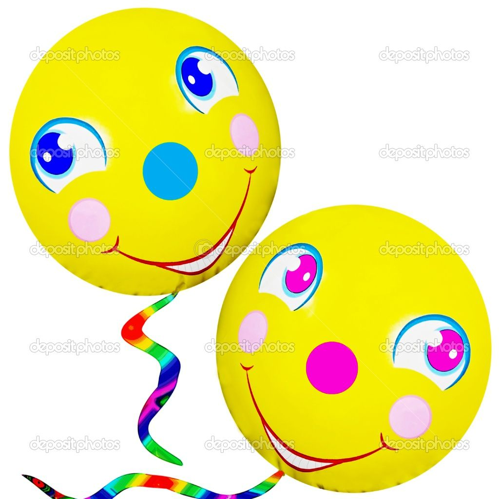 Funny balloon faces - Happy Faces Two Cute Happy Smiley Faced Balloons With Colorful Strings On
