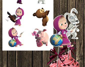 30 x Masha And The Bear Party Edible Rice Wafer Paper Cupcake Toppers