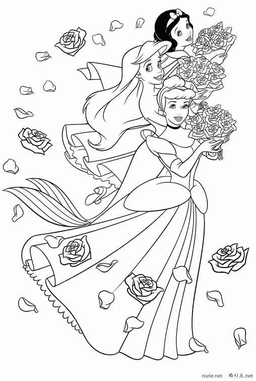 女の子のぬりえ お姫様たち ぬりえ Nurie Net ディズニープリンセスの塗り絵 ディズニーの塗り絵 塗り絵 かわいい