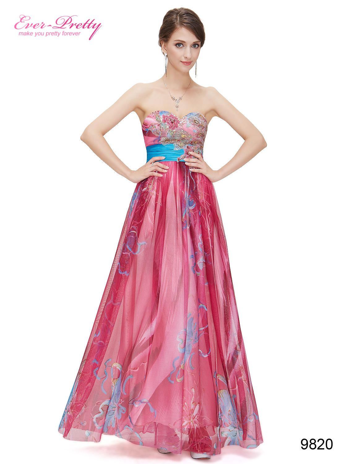 Floral embroidery strapless empire line evening dress evening