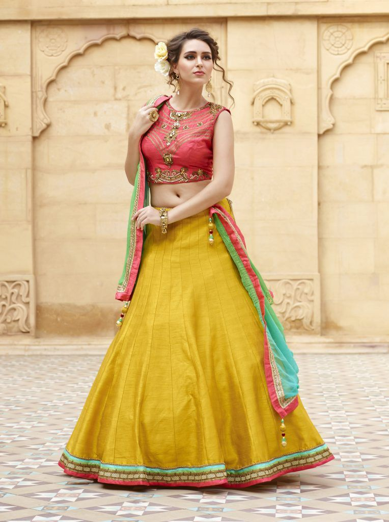 2909f9b1e44341 Designer Full Flair Silk Turmeric yellow Lehenga. | Exclusive ...
