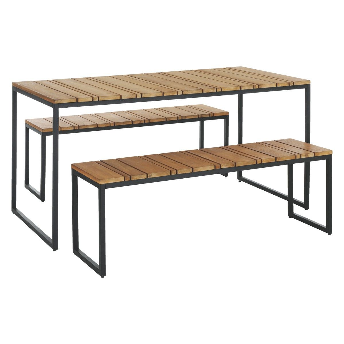 RAVEN Seat Teak And Metal Garden Set Ideas For The House - Teak and metal outdoor table