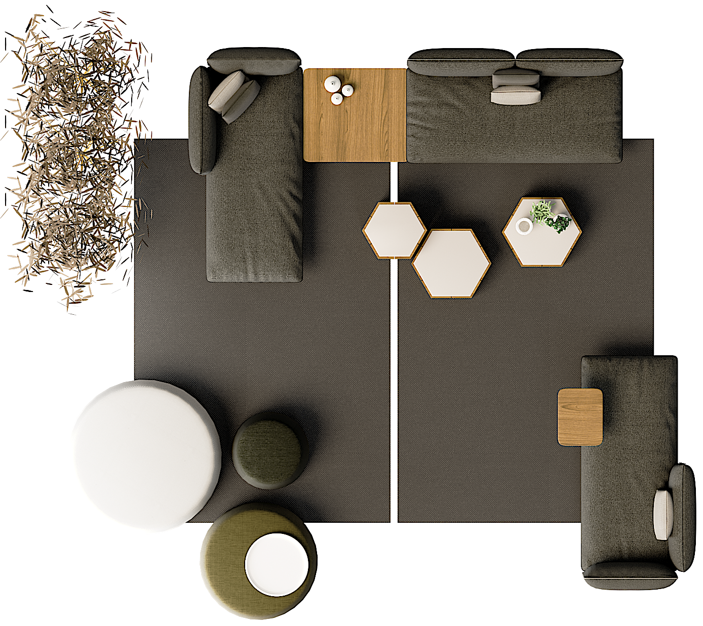 Senja Sofa Living Room Top View Showroom Interior Design Furniture Layout