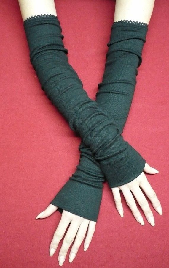 Extra long Black Armwarmers warm Jersey by littlegallery on Etsy ...