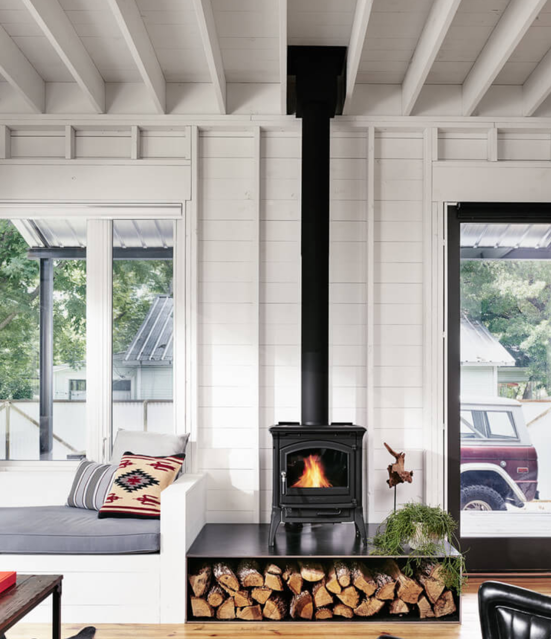 Get The Scandinavian Farmhouse Look See More At Americanfarmhousestyle Com Wood Burning Stove Corner Wood Burning Stoves Living Room Wood Stove Decor