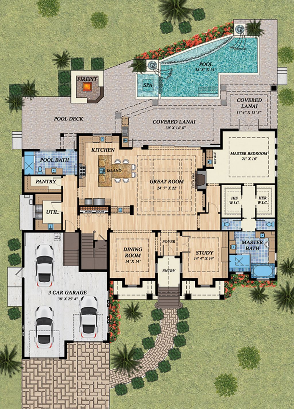 Mediterranean Style House Plan   4 Beds 5.00 Baths 4080 Sq/Ft Plan #548