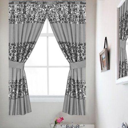 Sinatra Silver Bathroom Window Curtain Set W Tiebacks Por Bath Collection