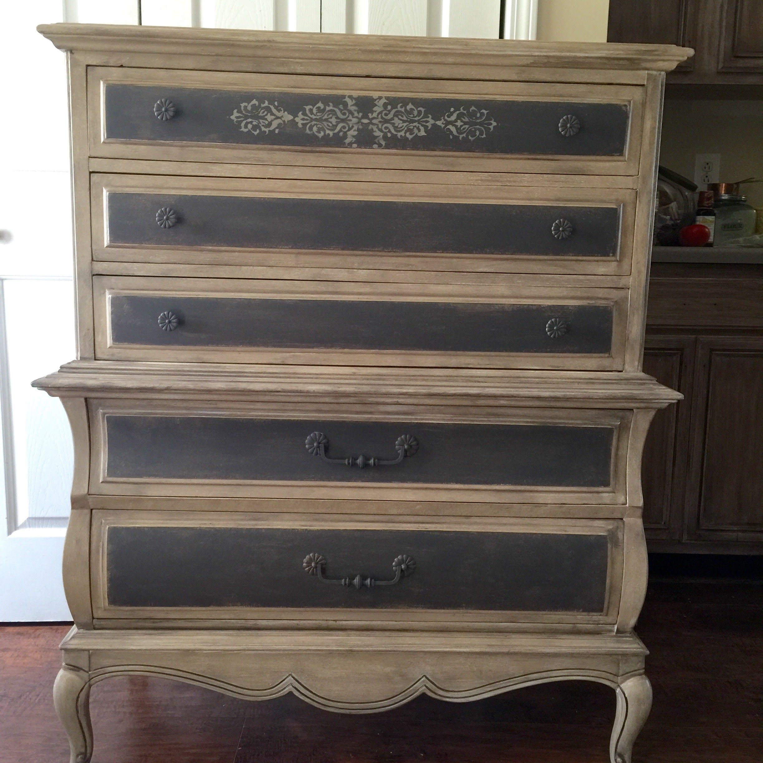 French Provincial Vintage Chest Of Drawers Painted Old