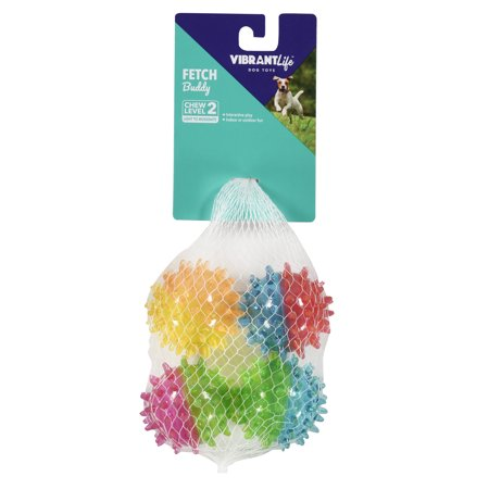 Vibrant Life Fetch Buddy Spike Ball Dog Toy Chew Level 2 4 Pack