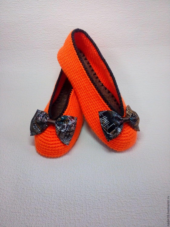 купить тапочки балетки женские апельсинка вязаные крючком обувь