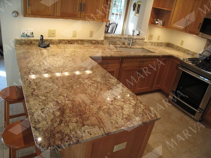 Typhoon Bordeaux Granite Countertops With Beige Tile | Note: (also Known As  Typhoon Bordeaux)