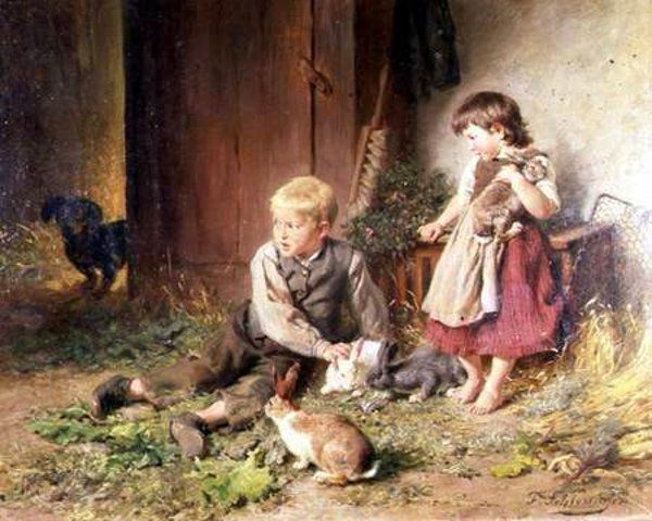 Protecting The Rabbits Felix Schlesinger 1833 1910 German