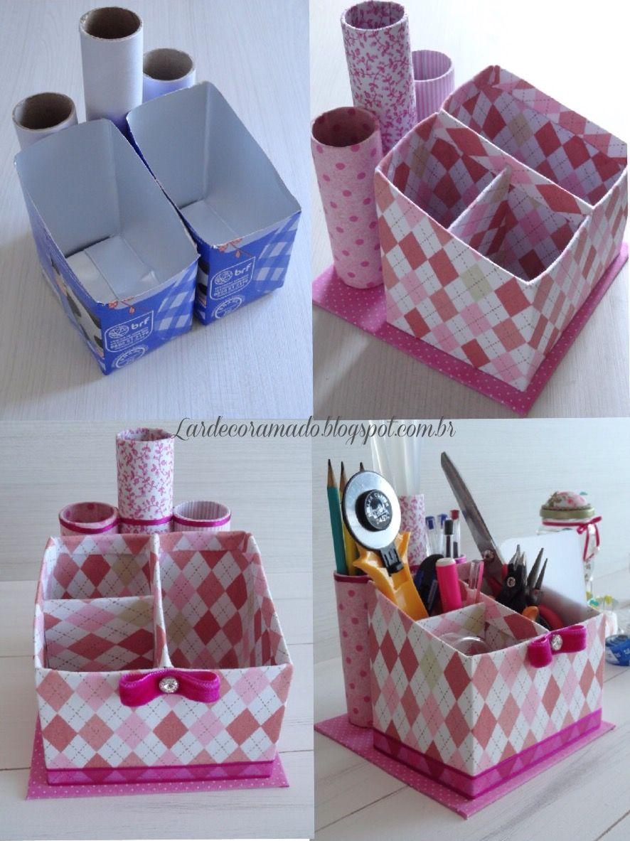 Organizador con cajas de leche manualidades de cart n - Cajas para manualidades ...