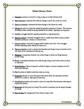 Literary Terms For Fiction Handout Story Elements With Images