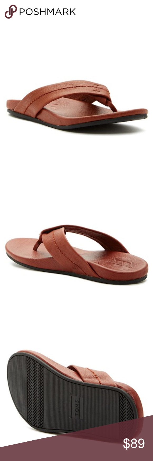 cfc96b108e New TOMS Men's Semana Leather Flip Flop Sandals Details: - New in the box -  Size 11 - Thong toe - Thick leather straps - Padded contoured footbed -  Rubber ...