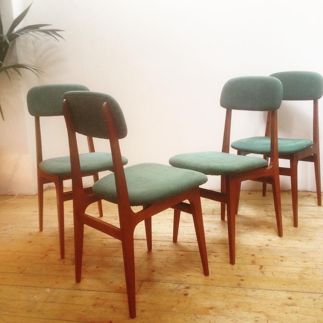 Design Scandinavo Anni 50 bellissimo set di 4 sedie stile scandinavo anni 50/60