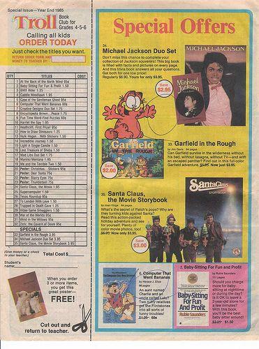 1980s 1990s Elementary School Book Club Flyers Scholastic Troll