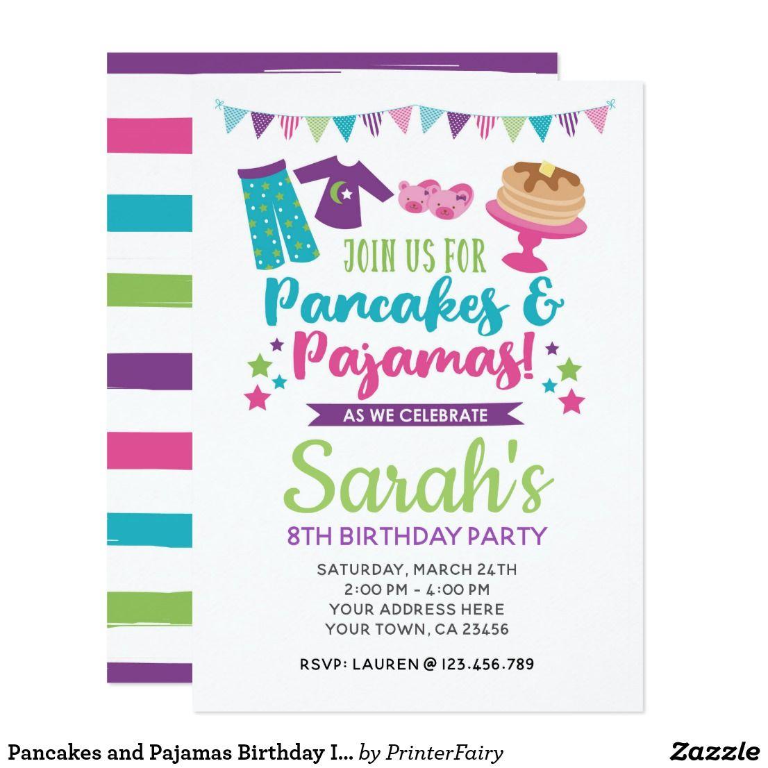 Pancakes and Pajamas Birthday Invitation 포함)