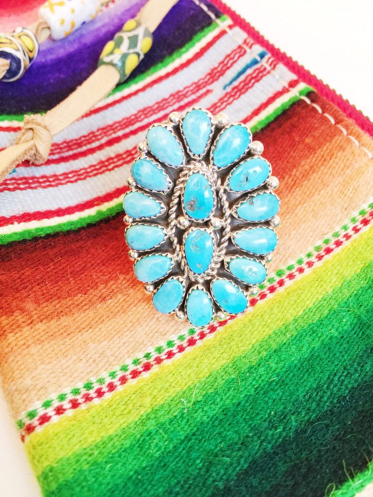 Large Oval Turquoise Cluster Ring Native American Jewelry. Western fashion. Cowgirl chic. Boho vibes. Big huge turquoise rings. therollinj.com