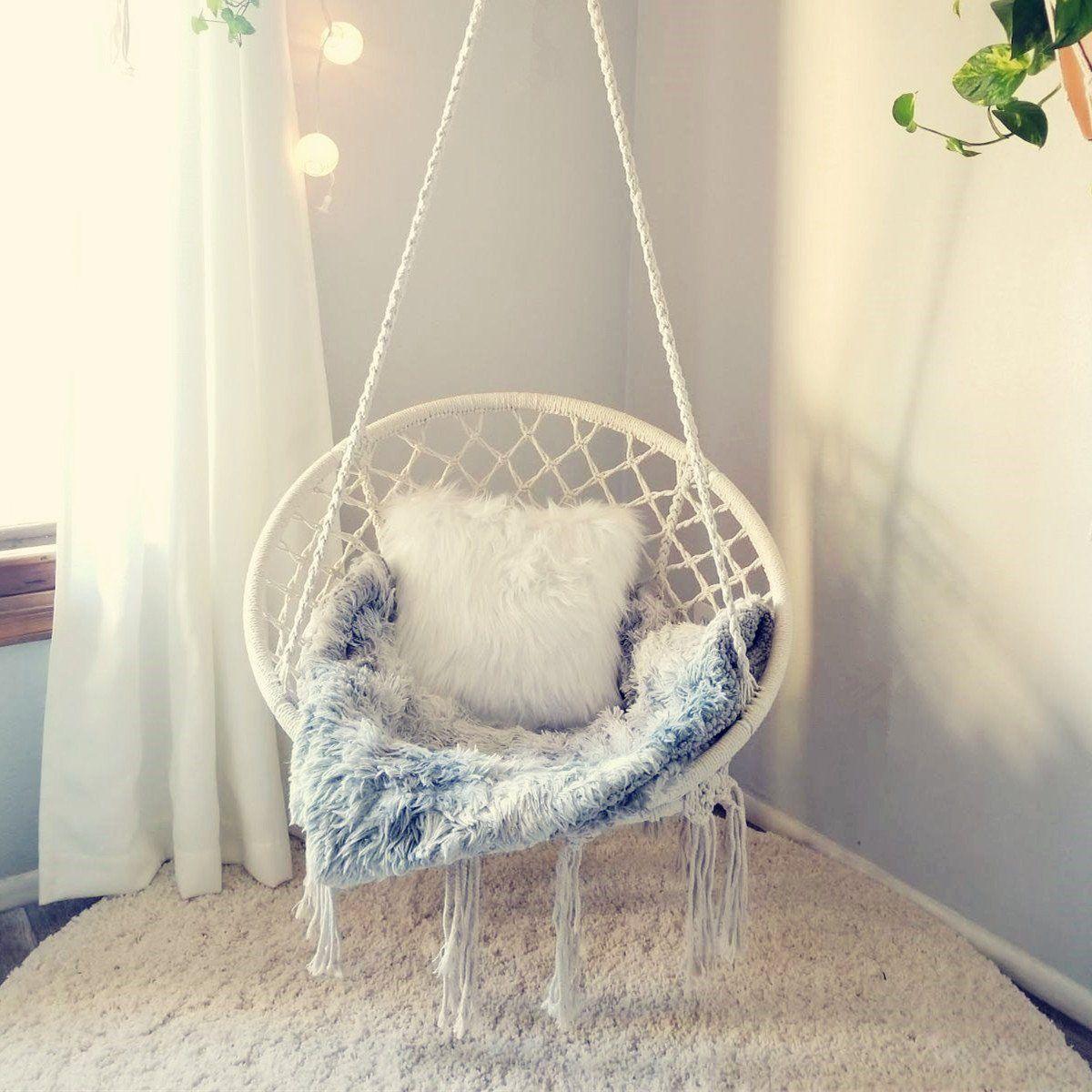 Handmade Bohemian Chic Macrame Hanging Chair In 2020 Hammock Swing Chair Hanging Swing Chair Swinging Chair