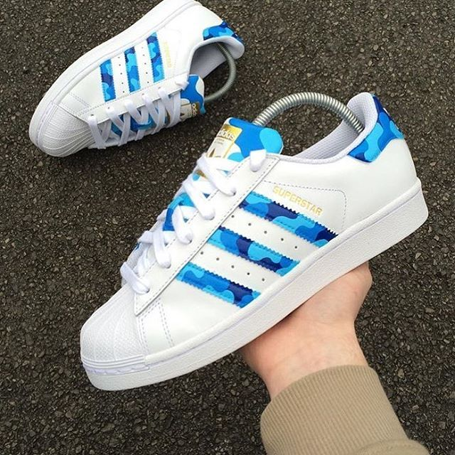 Adidas Superstar Custom Camo Blue Trainer Women S Shoes