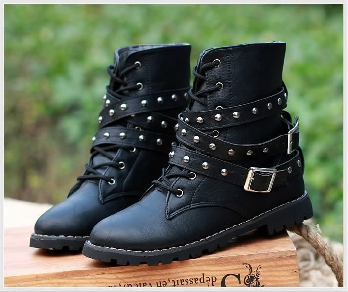 Womens Motorcycle Boots Combat Flat Biker Slip On Buckle Rivets ...