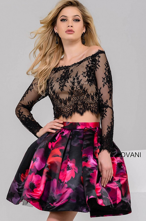 Jovani two piece party dress with lace top and floral skirt ...