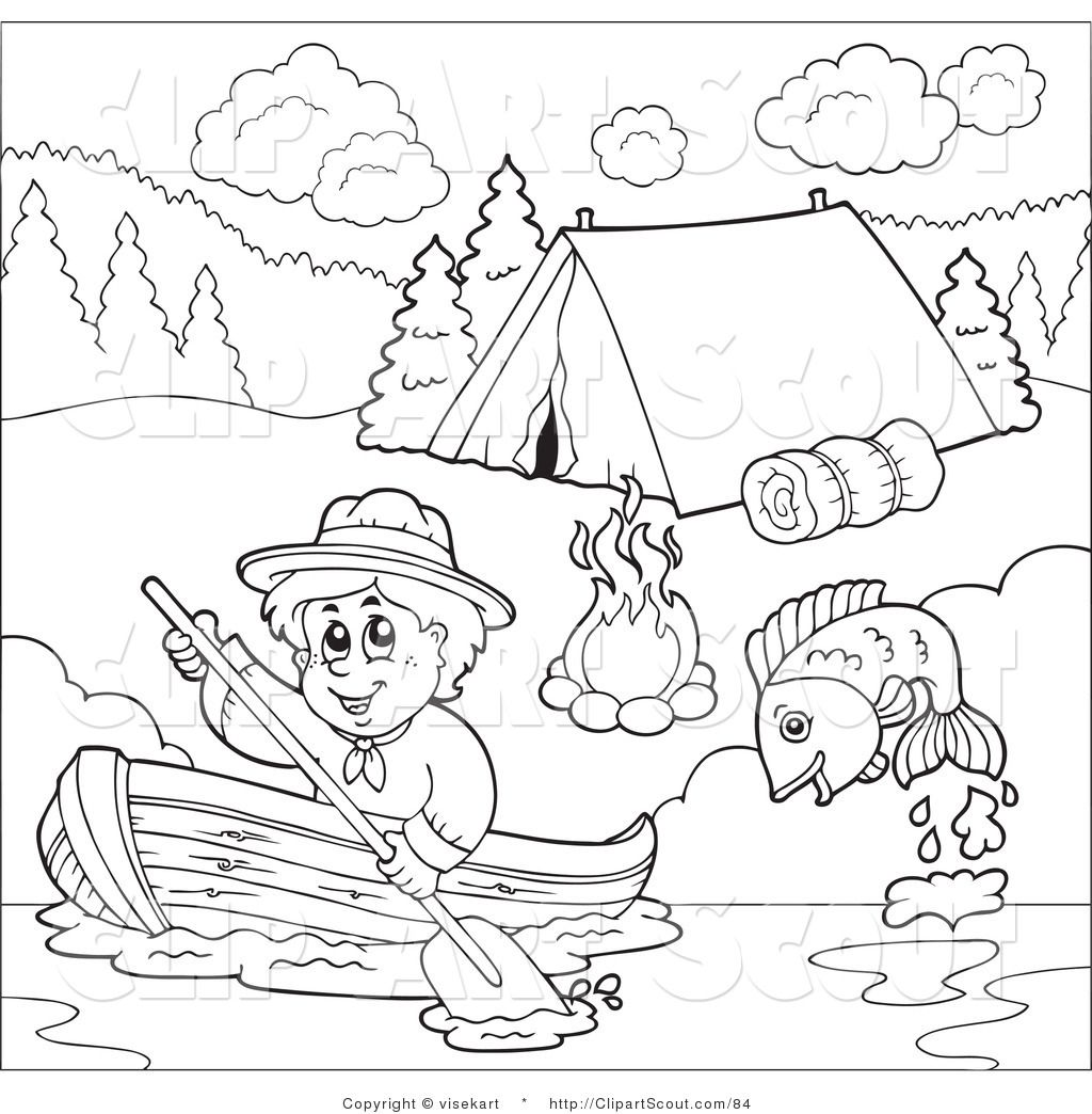 Camping Clip Art Black And White