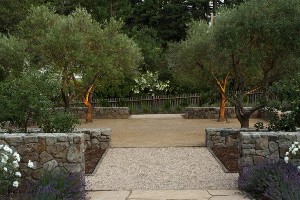 Green Bee Gardening Mediterranean Style Garden: Low Stone Walls, Gravel, Decomposed Granite And Mature