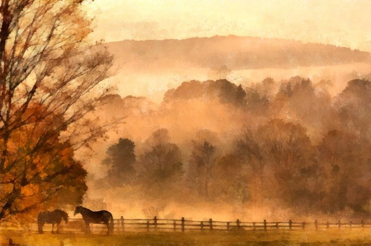 "HORSES IN FOGGY MIST BY ARTIST UNKNOWN. New media includes computer graphics, digital painting, digital art and  photo painting. This is a beautiful digital painting. Now scroll through Pinterest pins of ""Digital Painting As Art"" which have impressed Two Bananas Art and me the most.  SEE MORE DIGITAL PAINTING AS ART NOW.... https://richard-neuman-artist.com/works"