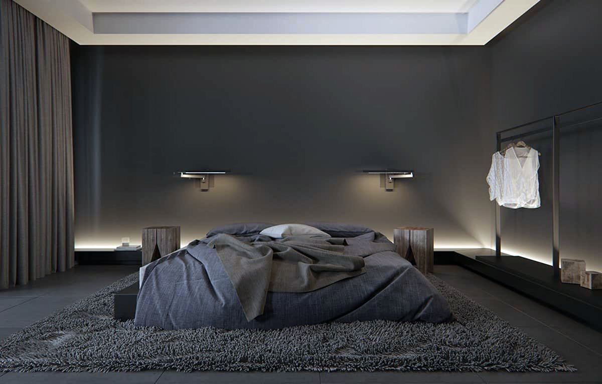 10 Masculine Men S Bedroom Design Ideas With Dark Color Schemes In 2020 Luxurious Bedrooms Modern Bedroom Decor Black Bedroom Design